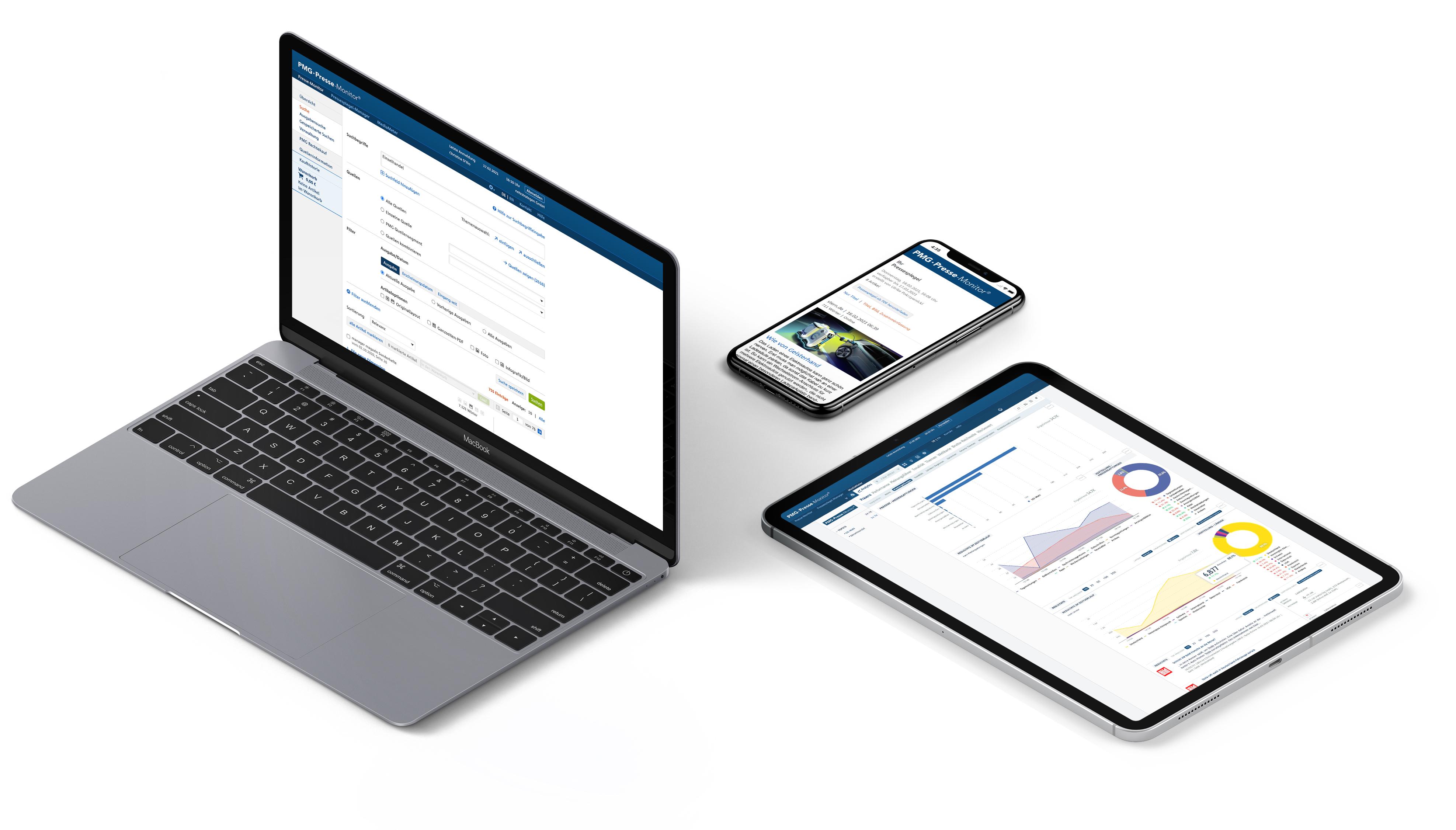Presse-Monitor dargestellt auf Desktop, Tablet und Mobil