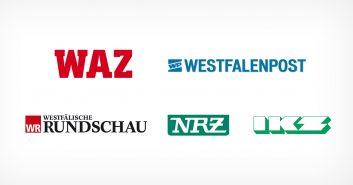 Aufteilung in Lokalausgaben: Westdeutsche Allgemeine WAZ, Westfälische Rundschau, Westfalenpost, Neue Ruhr Zeitung / Neue Rhein Zeitung